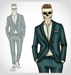 Man with skull with hairstyle wearing suit vector
