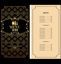 menu for restaurant with flatware and price list vector image