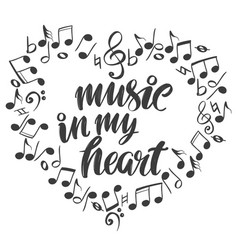 musical notes in the form of a heart icon love vector image