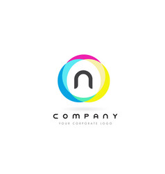 n letter logo design with rainbow rounded colors vector image