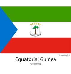 National flag of Equatorial Guinea with correct vector