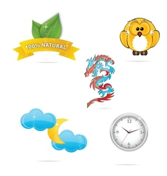 nature and eco object symbols set vector image