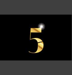 number 5 five gold golden metal metallic logo vector image