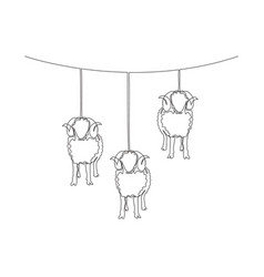 one continuous line drawing sheeps hanging vector image