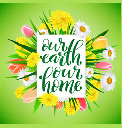 our earth our home template for poster vector image