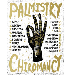 palmistry chiromancy - black hand on a white vector image