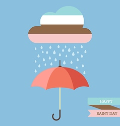 Pastel color cloud with Rain drop on umbrella vector