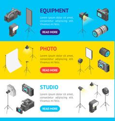 photo studio equipment signs 3d banner horizontal vector image
