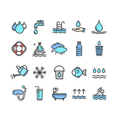 Pool and water signs color thin line icon set vector
