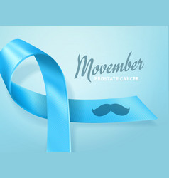 prostate cancer awareness blue ribbon background vector image