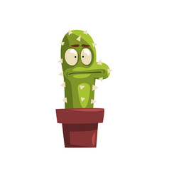 puzzled cactus character in a clay pot succulent vector image