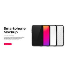 realistic phone mockup set modern phones vector image