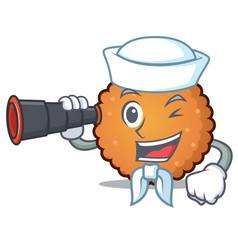 Sailor with binocular cookies mascot cartoon style vector