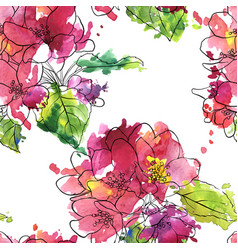Seamless pattern with apple blossoms vector
