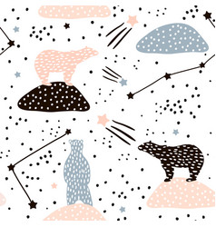 seamless pattern with polar bears silhouette and vector image
