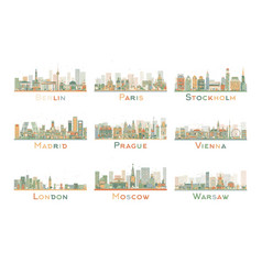 Set 9 abstract europe city skyline vector