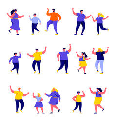 set flat people dancing parents with kids vector image