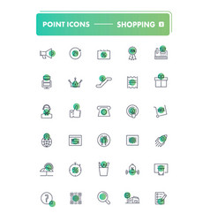 set of 30 line icons shopping and retail vector image