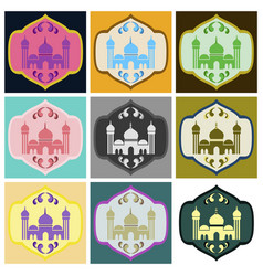 set of icons in flat style muslim mosque vector image