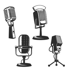 Set of retro microphones vector