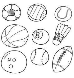 set of sport equipments vector image