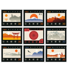 set old postage stamps with japanese landscapes vector image