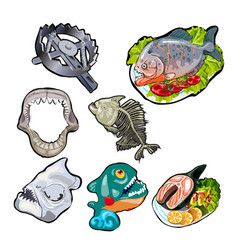 Set on the theme of toothy fish meals of piranha vector