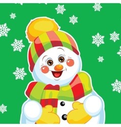 Snowman on green background with patterns vector image