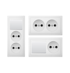 Socket type c with switch power plug receptacle vector