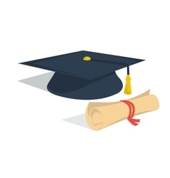 Student hat and diploma roll vector image vector image