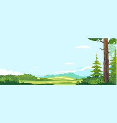 Sunny lawn near spruce forest with bushes vector
