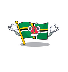 Super funny grinning flag dominica mascot cartoon vector
