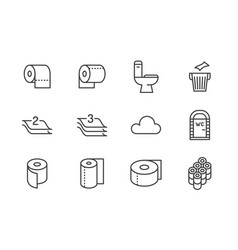 Toilet paper roll towel flat line icons hygiene vector