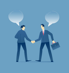 Two businessmen shake hands in business agreement vector