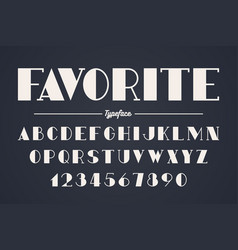 Vanguard decorative bold font design alphabet vector