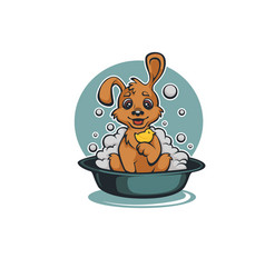 wash your pet funny cartoon baby dog taking a bath vector image