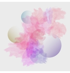 watercolor stains with three transparent bubbles vector image