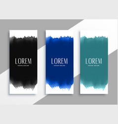 watercolors banners set in different colors vector image