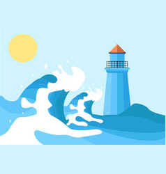 waves and lighthouse colored pr vector image