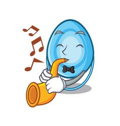 With trumpet oxygen mask mascot cartoon vector