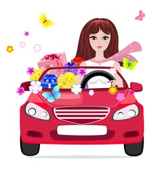 Woman car vector