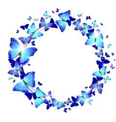 Wreath of Blue Butterflies vector