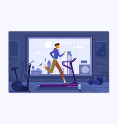young man in sportswear running on treadmill at vector image