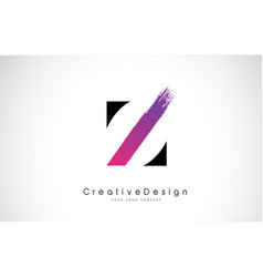 Z letter logo design with creative pink purple vector