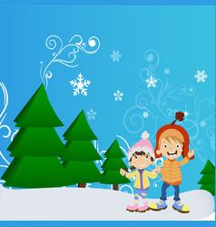 happy winter cute kids vector image vector image
