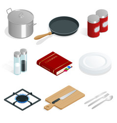 isometric set of professional kitchenware vector image