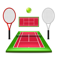 tennis court set isolated on white vector image vector image