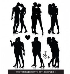 couple silhouettes set vector image vector image