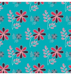 Doodle Flowers On Blue vector image