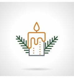 Festive candle simple color line icon vector image